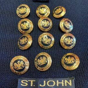 12 St. John's navy blue round gold crest buttons